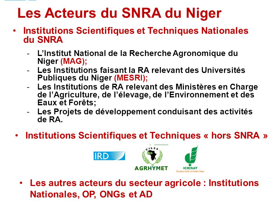 Les Acteurs du SNRA du Niger