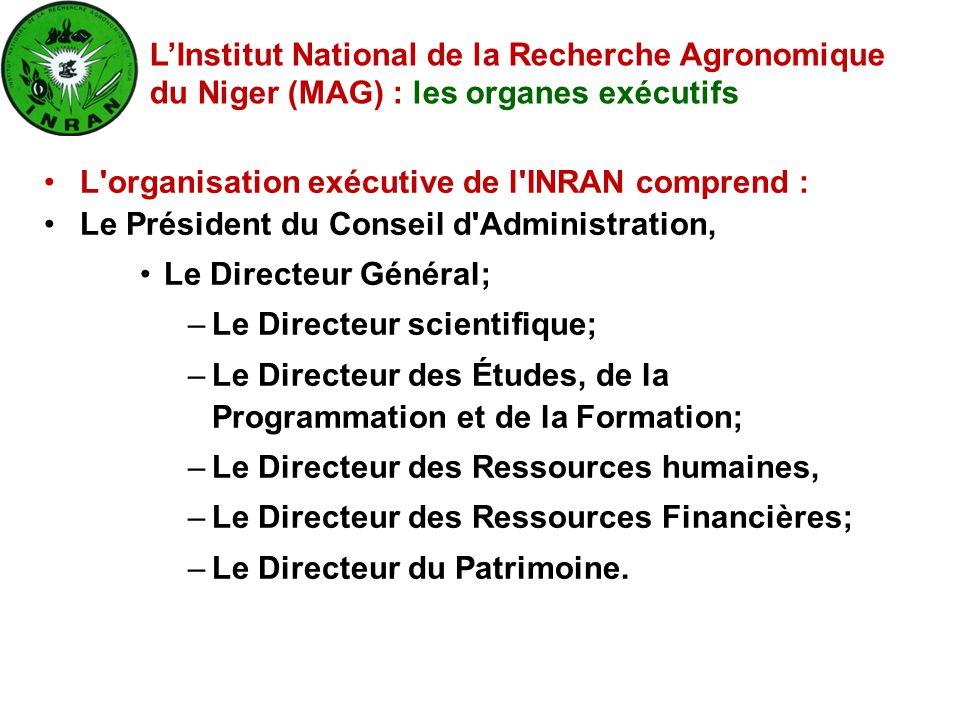 L'Institut National de la Recherche Agronomique du Niger (MAG) : les organes exécutifs