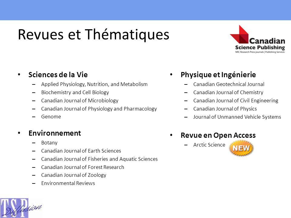 Revues et Thématiques Physique et Ingénierie Sciences de la Vie