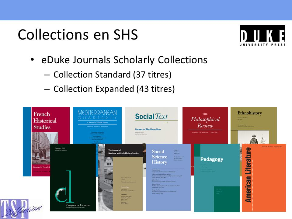 Collections en SHS eDuke Journals Scholarly Collections