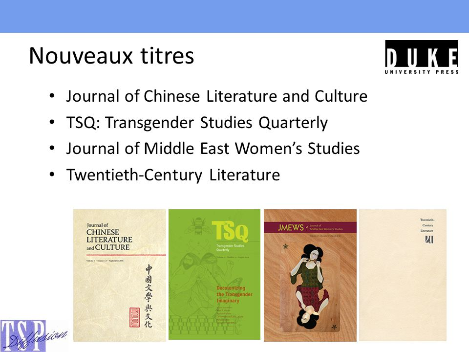 Nouveaux titres Journal of Chinese Literature and Culture