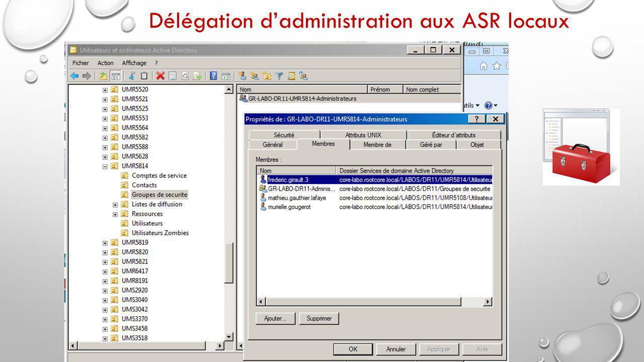 Délégation d'administration aux ASR locaux