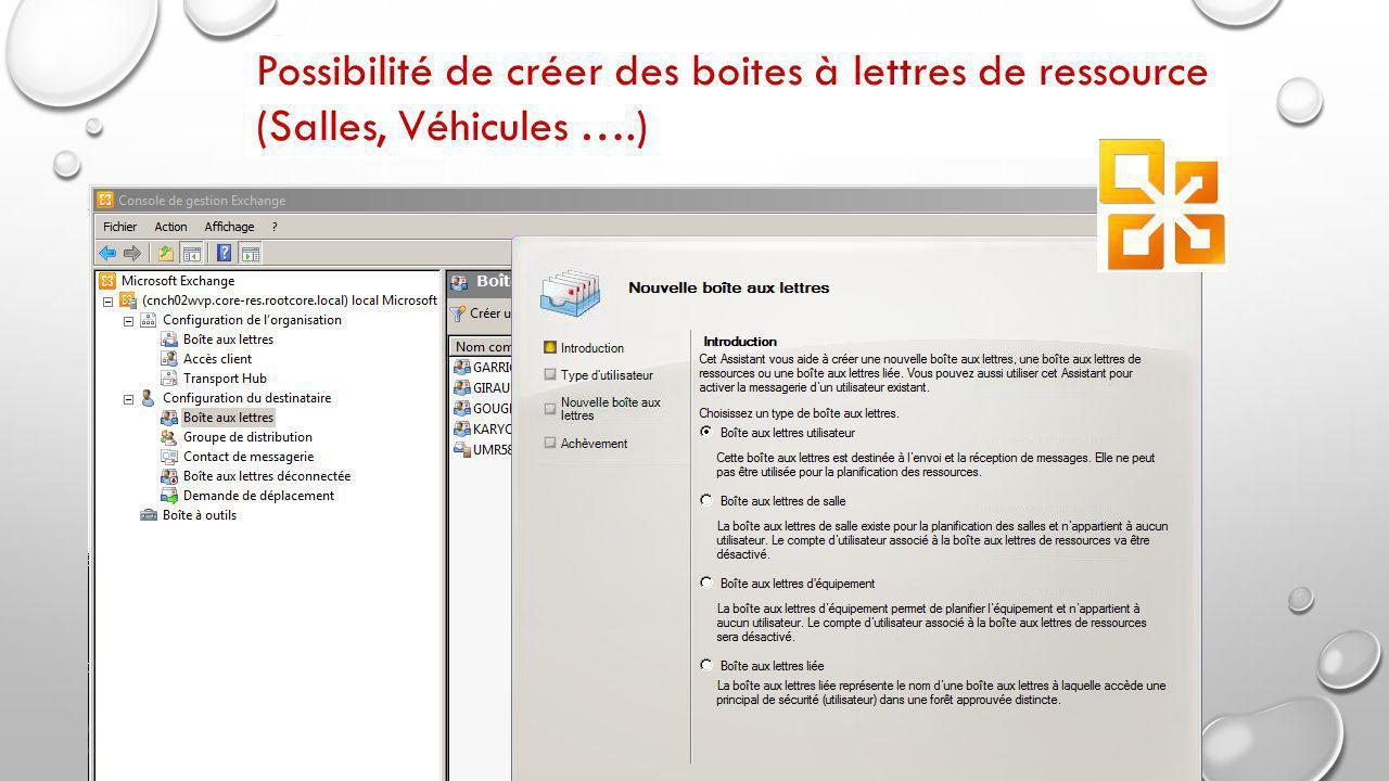 Possibilité de créer des boites à lettres de ressource (Salles, Véhicules ….)