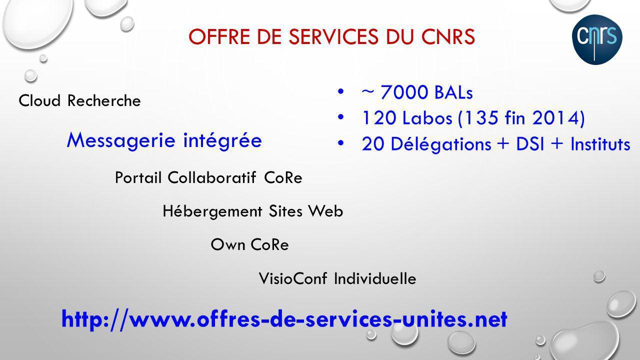 Offre de services DU CNRS