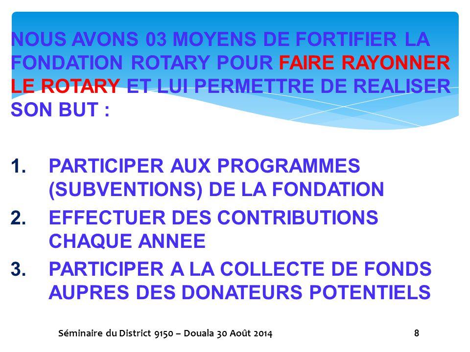 PARTICIPER AUX PROGRAMMES (SUBVENTIONS) DE LA FONDATION
