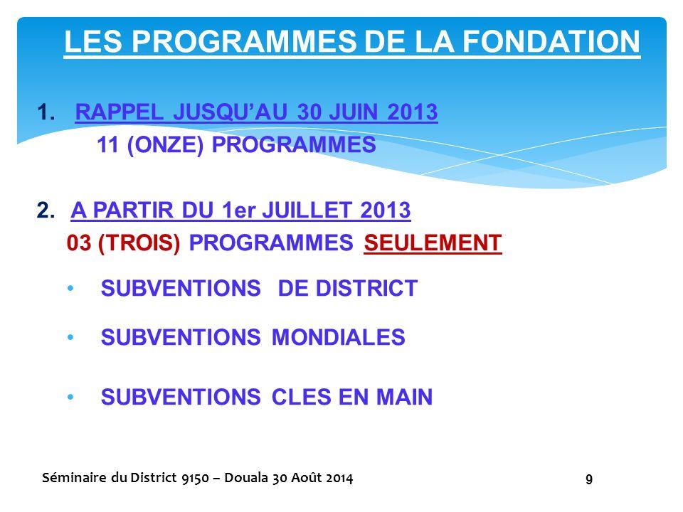 LES PROGRAMMES DE LA FONDATION