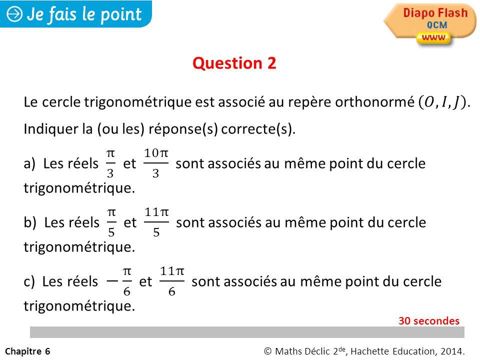 Question 2 Le cercle trigonométrique est associé au repère orthonormé 𝑂, 𝐼, 𝐽 . Indiquer la (ou les) réponse(s) correcte(s).