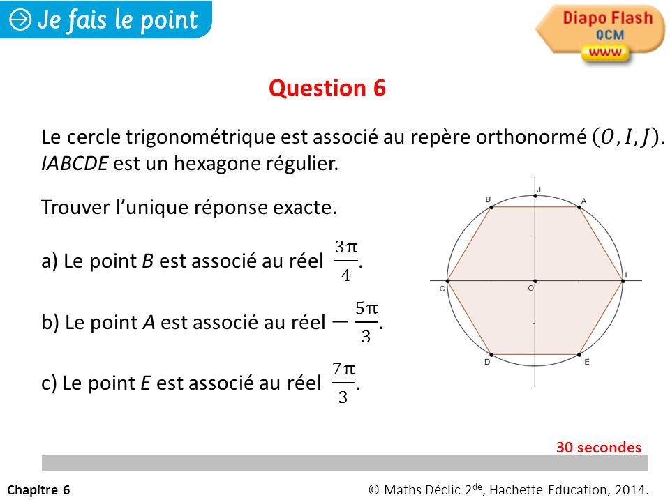 Question 6 Le cercle trigonométrique est associé au repère orthonormé 𝑂, 𝐼, 𝐽 . IABCDE est un hexagone régulier.