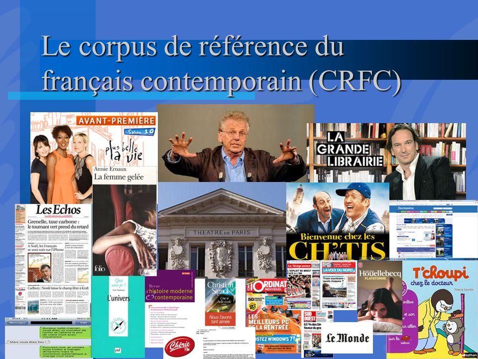 Le corpus de référence du français contemporain (CRFC)