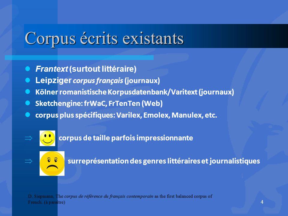 Corpus écrits existants