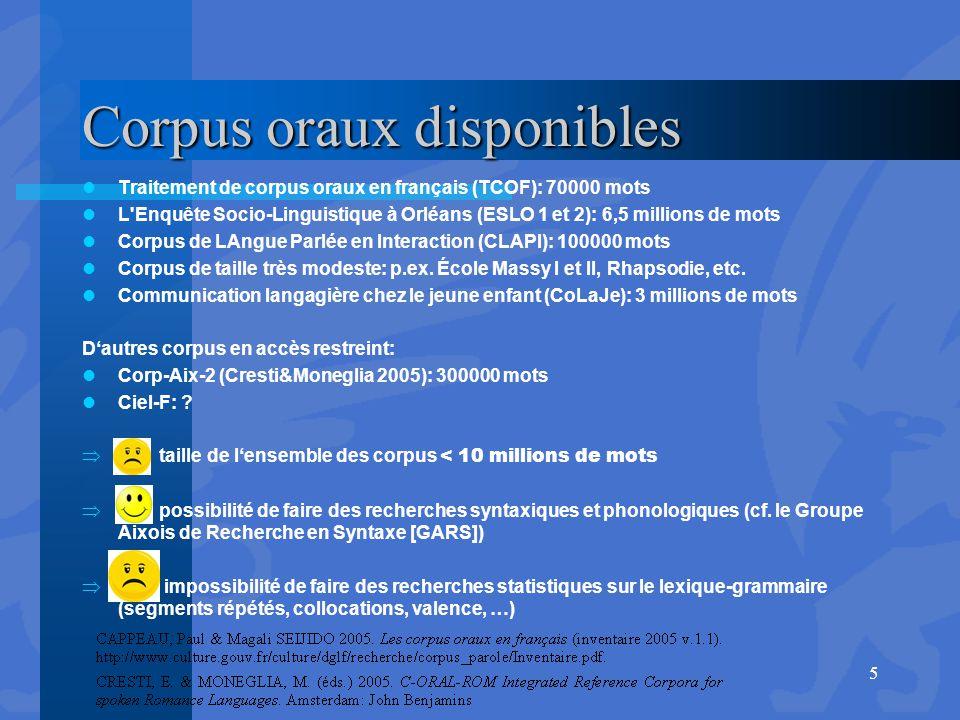 Corpus oraux disponibles