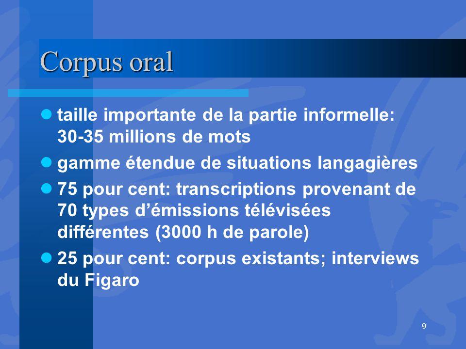 Corpus oral taille importante de la partie informelle: 30-35 millions de mots. gamme étendue de situations langagières.
