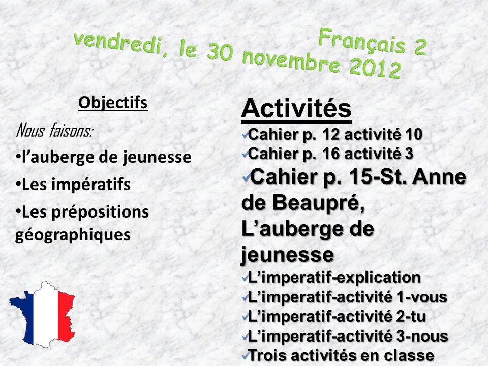 Français 2 vendredi, le 30 novembre 2012