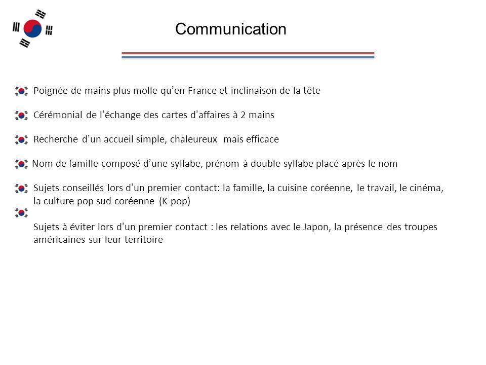 Communication Poignée de mains plus molle qu'en France et inclinaison de la tête. Cérémonial de l'échange des cartes d'affaires à 2 mains.