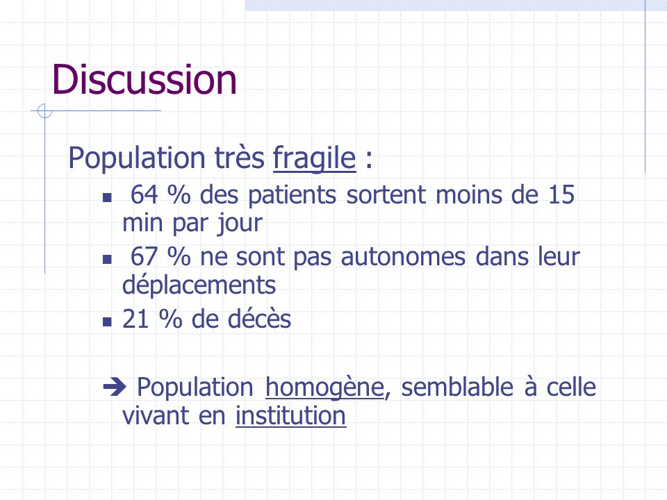 Discussion Population très fragile :