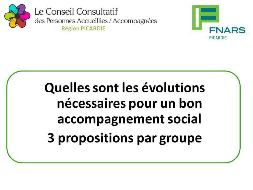Région PICARDIE Quelles sont les évolutions nécessaires pour un bon accompagnement social 3 propositions par groupe