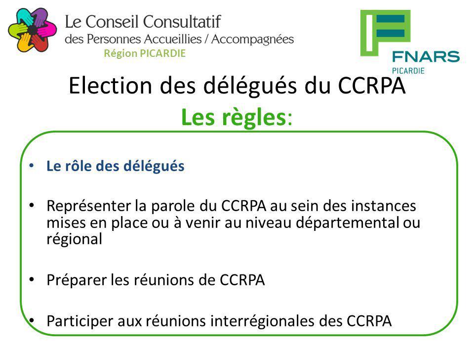 Election des délégués du CCRPA Les règles: