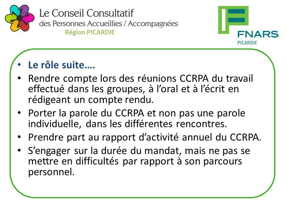 Prendre part au rapport d'activité annuel du CCRPA.