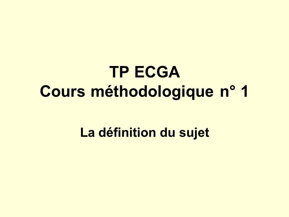 TP ECGA Cours méthodologique n° 1