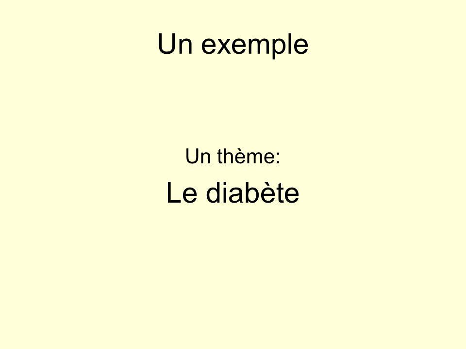 Un exemple Un thème: Le diabète