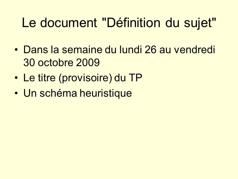 Le document Définition du sujet