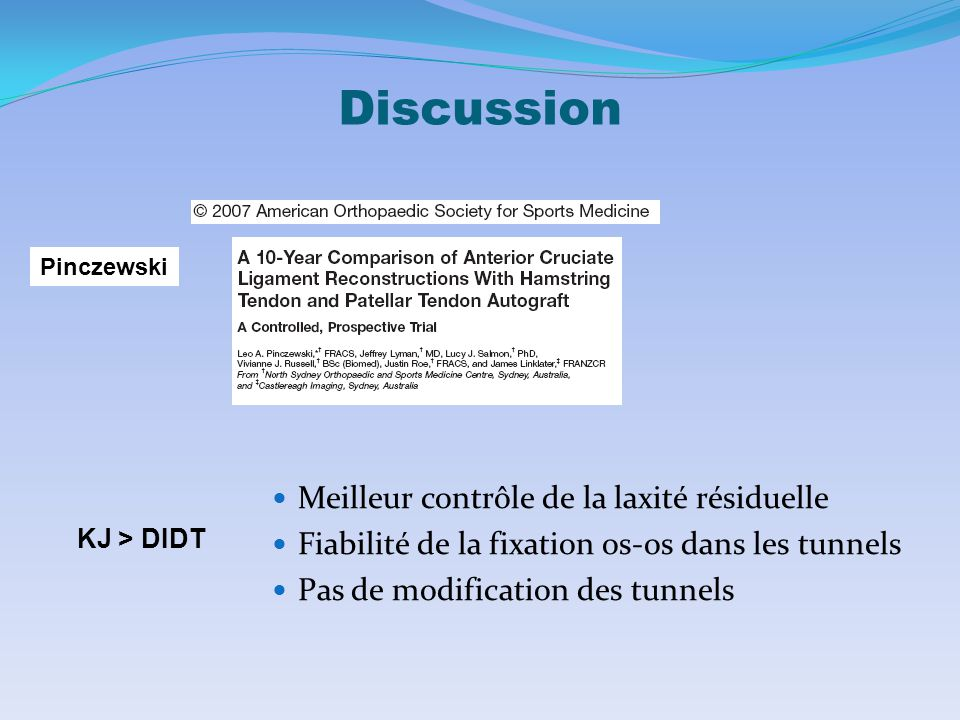 Discussion Meilleur contrôle de la laxité résiduelle
