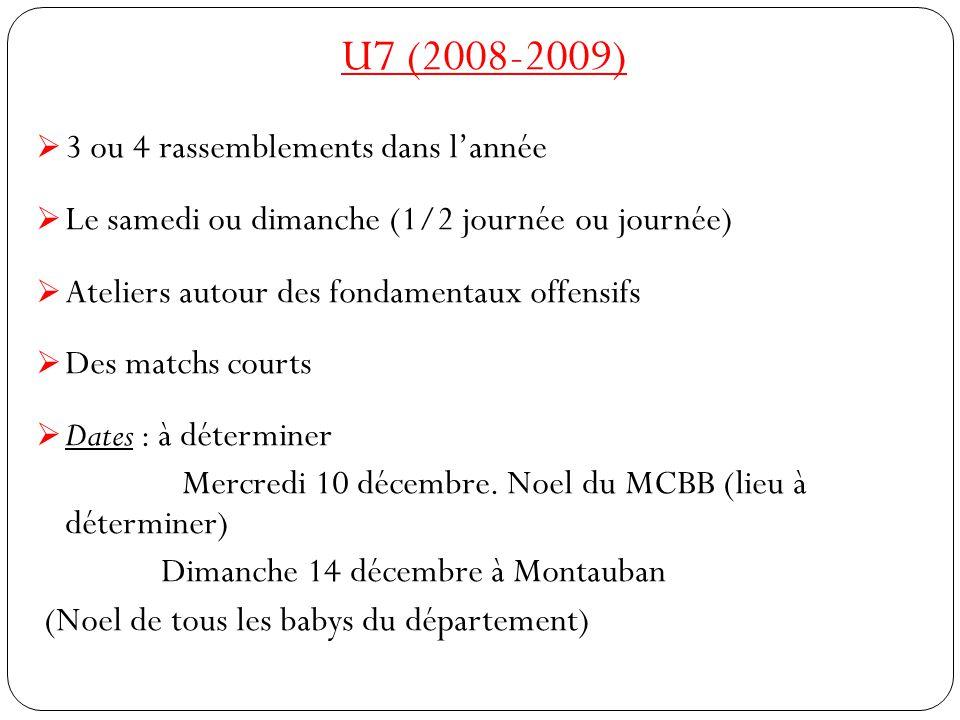 U7 (2008-2009) 3 ou 4 rassemblements dans l'année