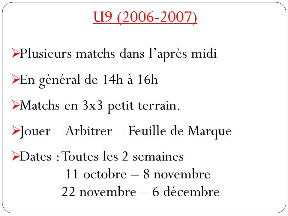 U9 (2006-2007) Plusieurs matchs dans l'après midi