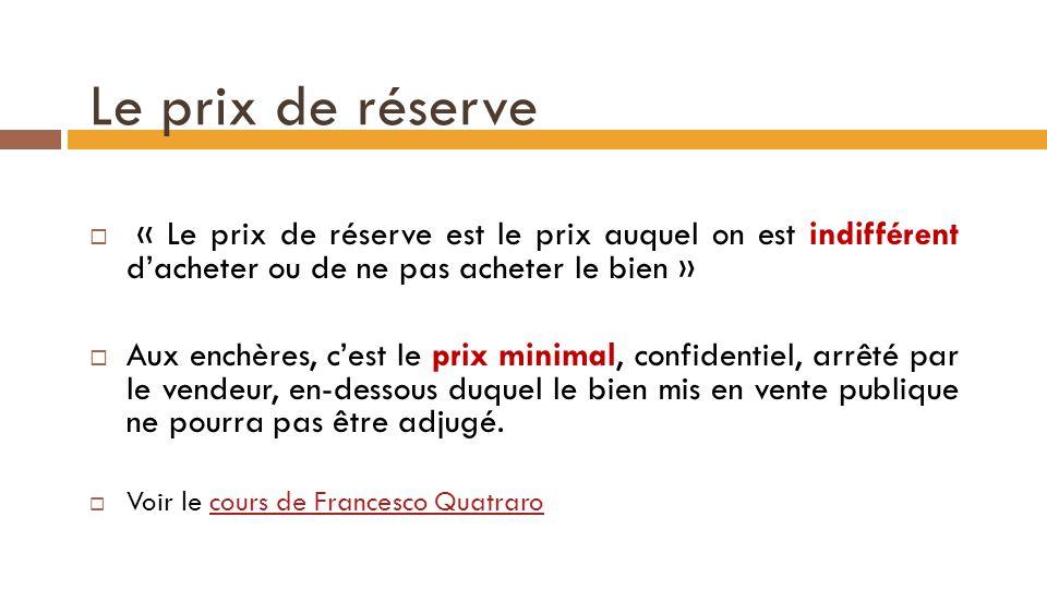 Le prix de réserve « Le prix de réserve est le prix auquel on est indifférent d'acheter ou de ne pas acheter le bien »