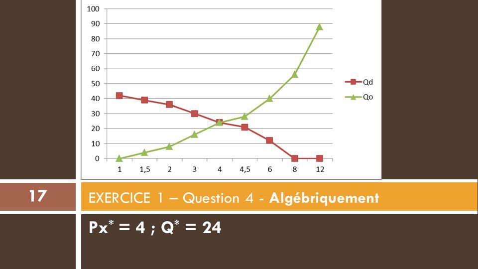 EXERCICE 1 – Question 4 - Algébriquement