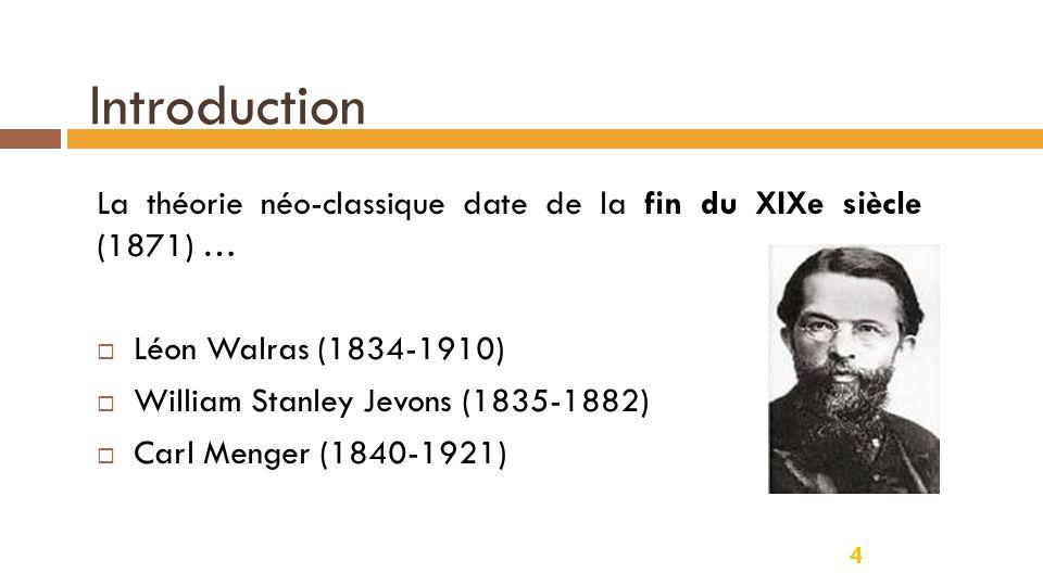 Introduction La théorie néo-classique date de la fin du XIXe siècle (1871) … Léon Walras (1834-1910)