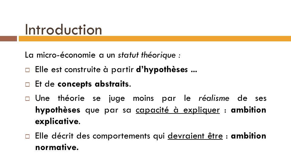 Introduction La micro-économie a un statut théorique :