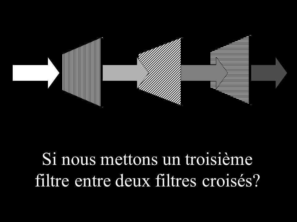 Si nous mettons un troisième filtre entre deux filtres croisés