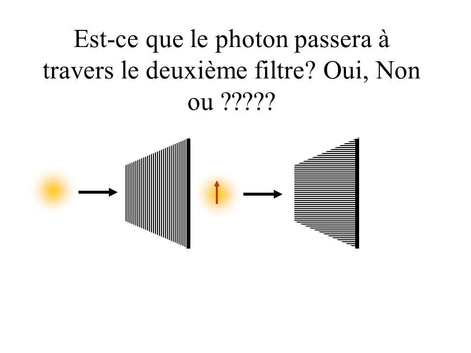 Est-ce que le photon passera à travers le deuxième filtre Oui, Non ou
