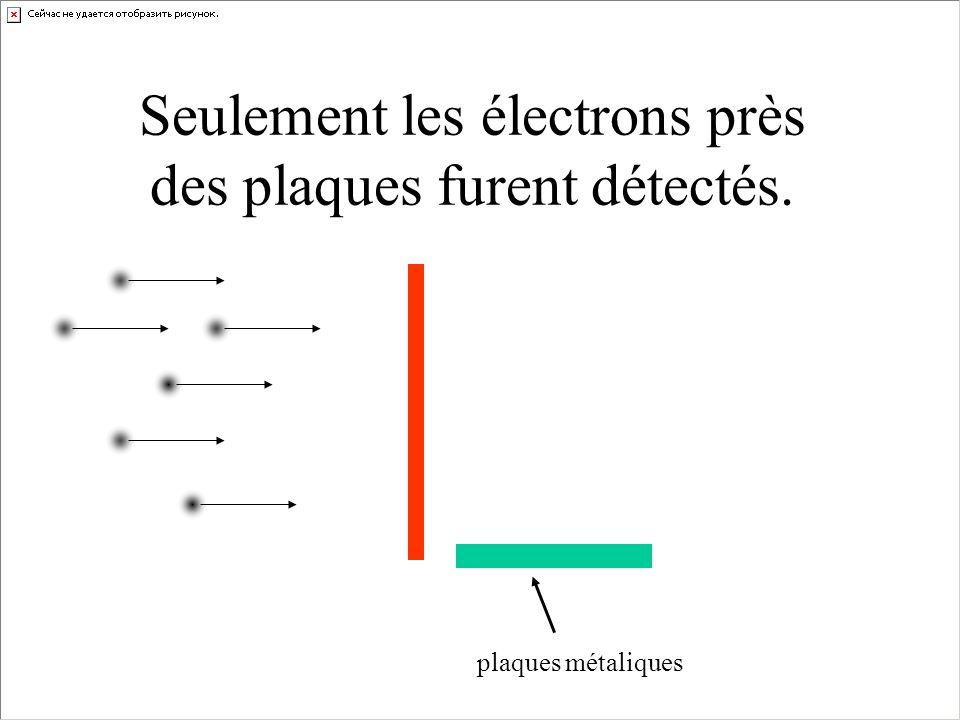 Seulement les électrons près des plaques furent détectés.