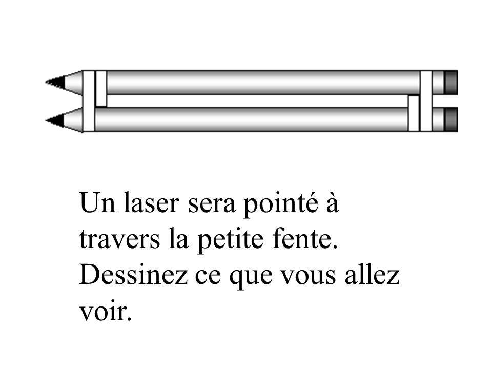 Un laser sera pointé à travers la petite fente