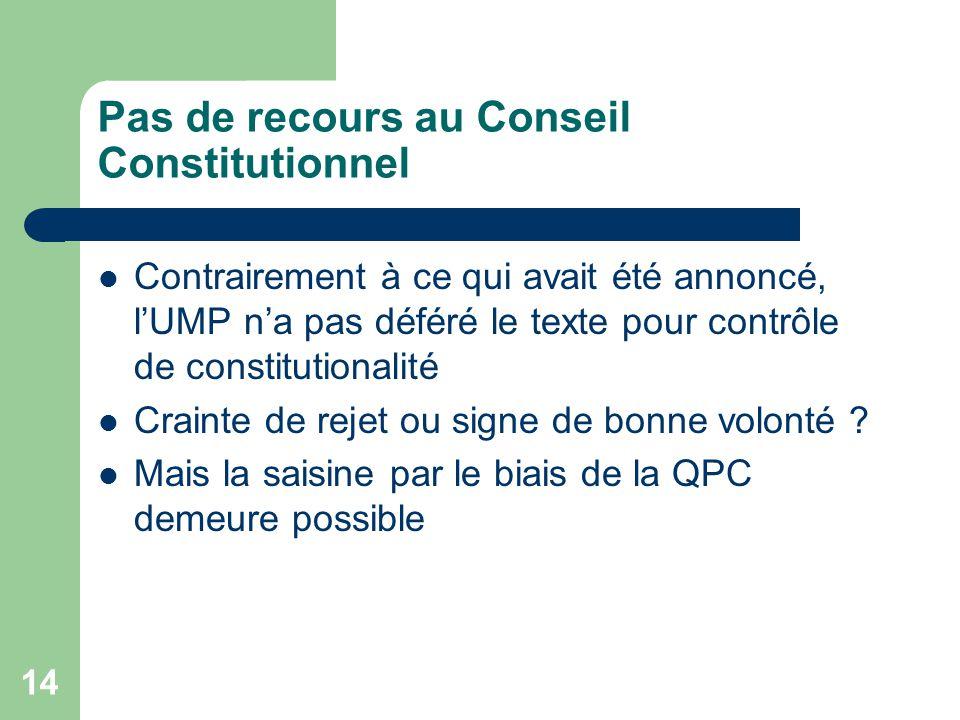 Pas de recours au Conseil Constitutionnel