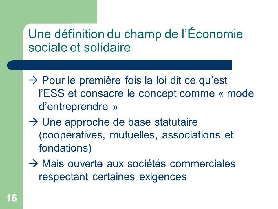 Une définition du champ de l'Économie sociale et solidaire