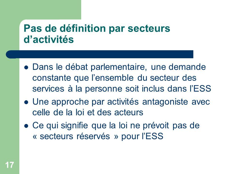 Pas de définition par secteurs d'activités