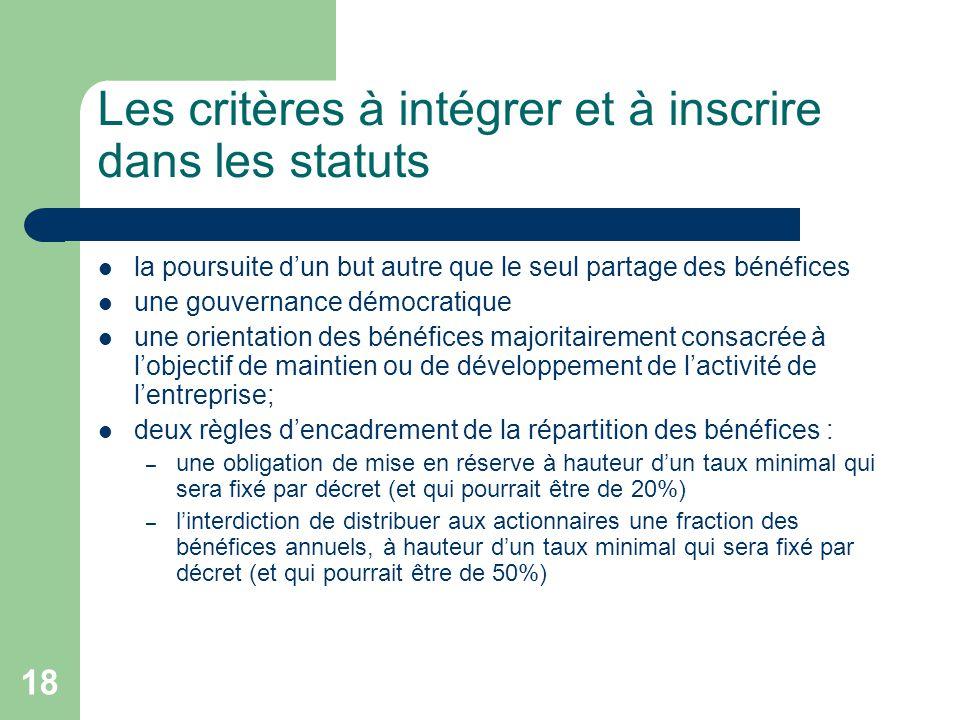 Les critères à intégrer et à inscrire dans les statuts