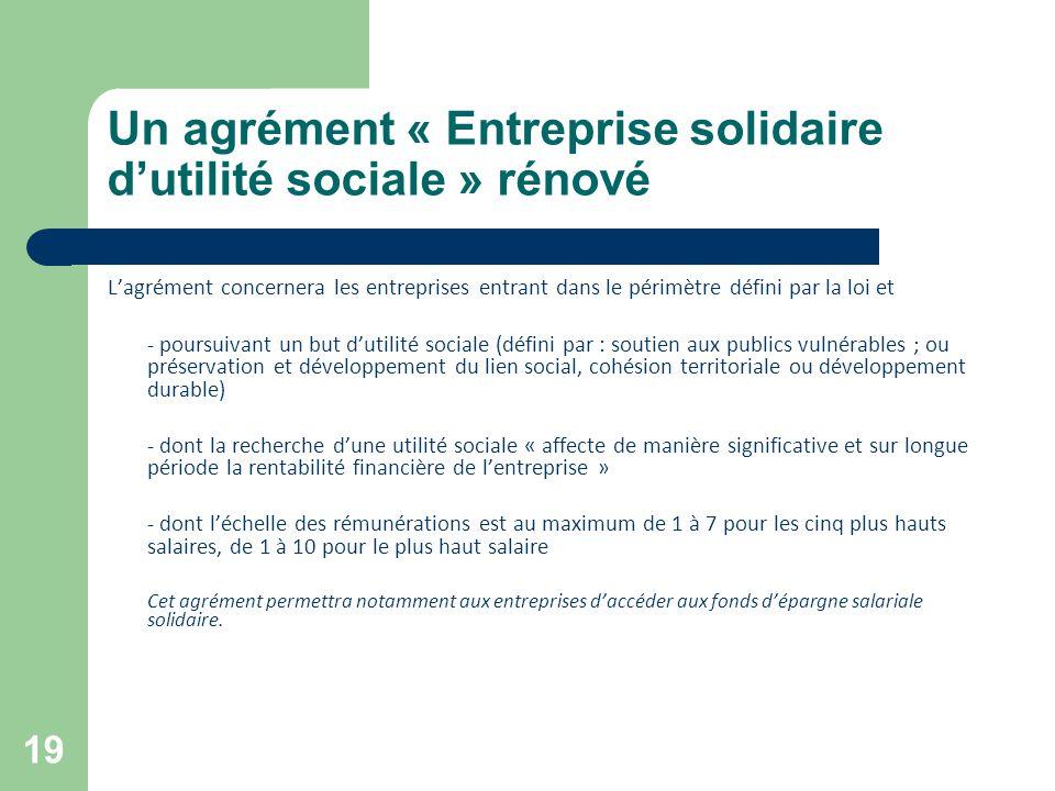 Un agrément « Entreprise solidaire d'utilité sociale » rénové