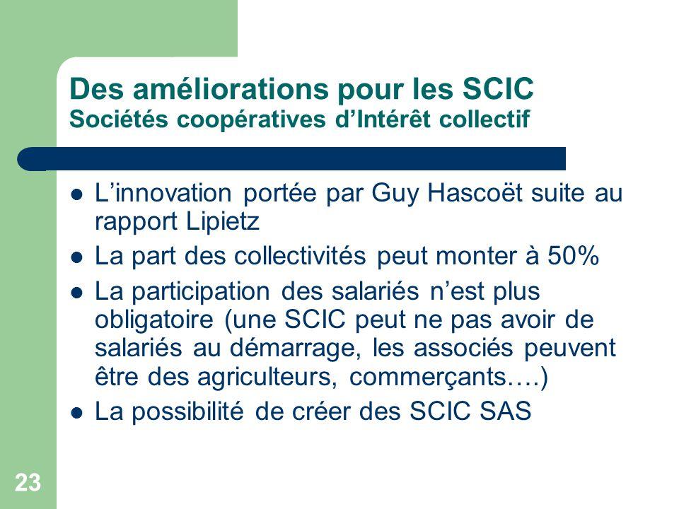 Des améliorations pour les SCIC Sociétés coopératives d'Intérêt collectif
