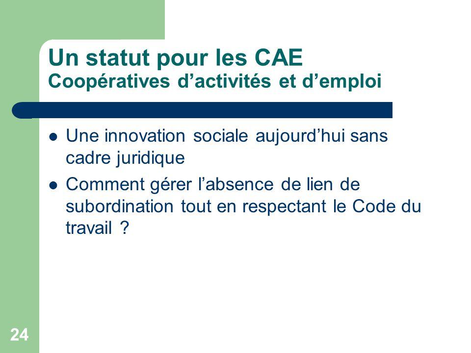 Un statut pour les CAE Coopératives d'activités et d'emploi