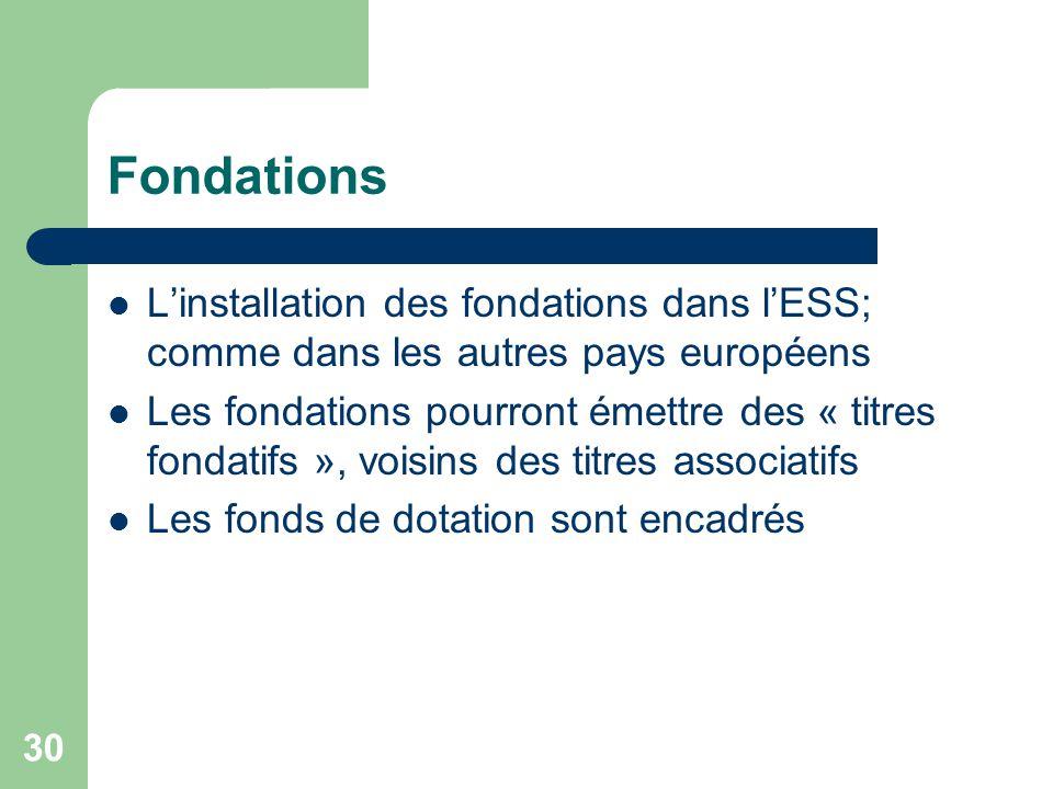 Fondations L'installation des fondations dans l'ESS; comme dans les autres pays européens.
