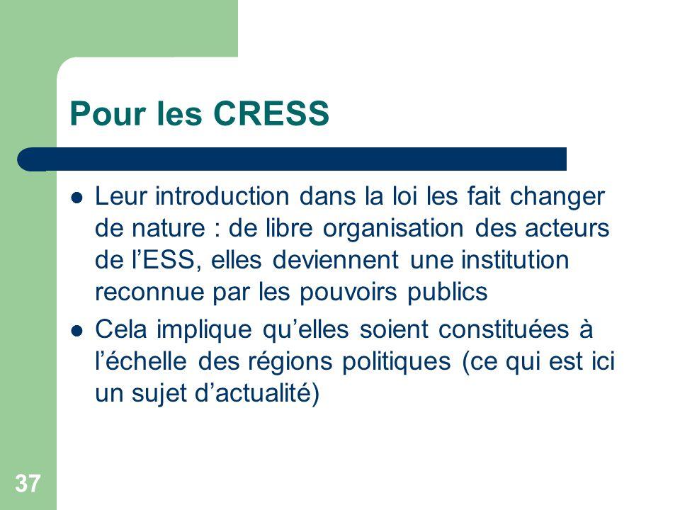 Pour les CRESS