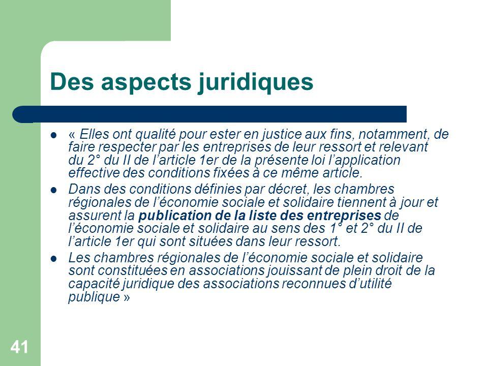 Des aspects juridiques