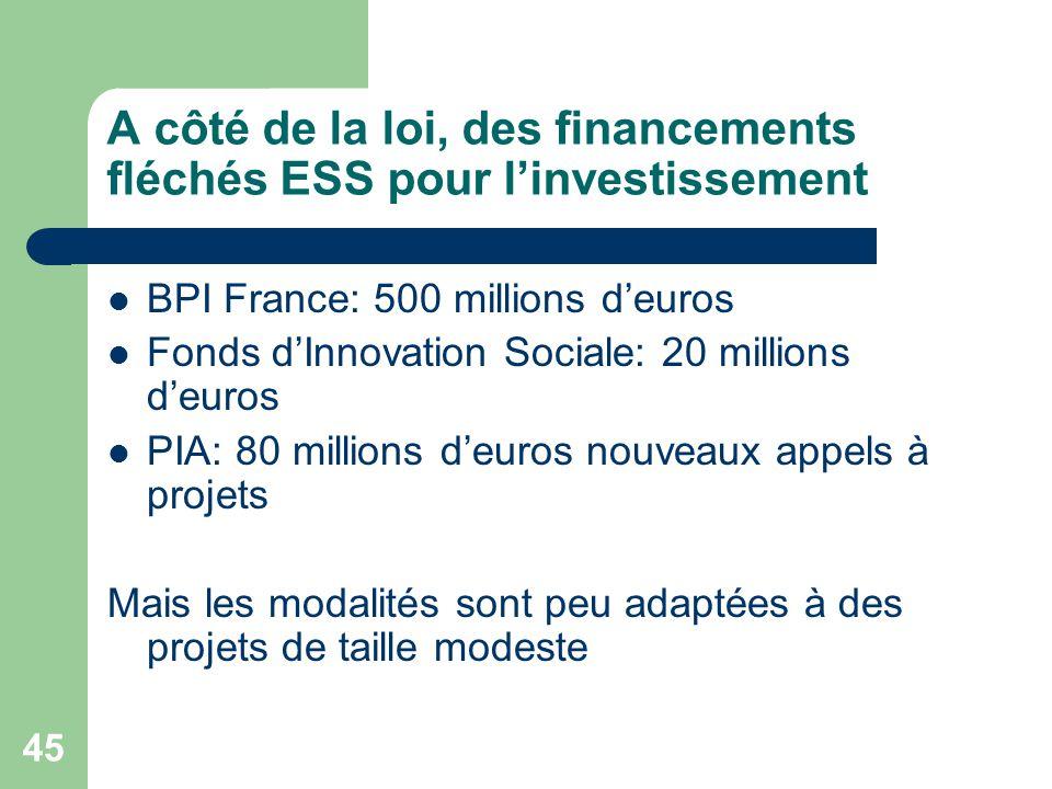 A côté de la loi, des financements fléchés ESS pour l'investissement