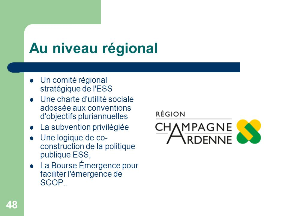 Au niveau régional Un comité régional stratégique de l ESS