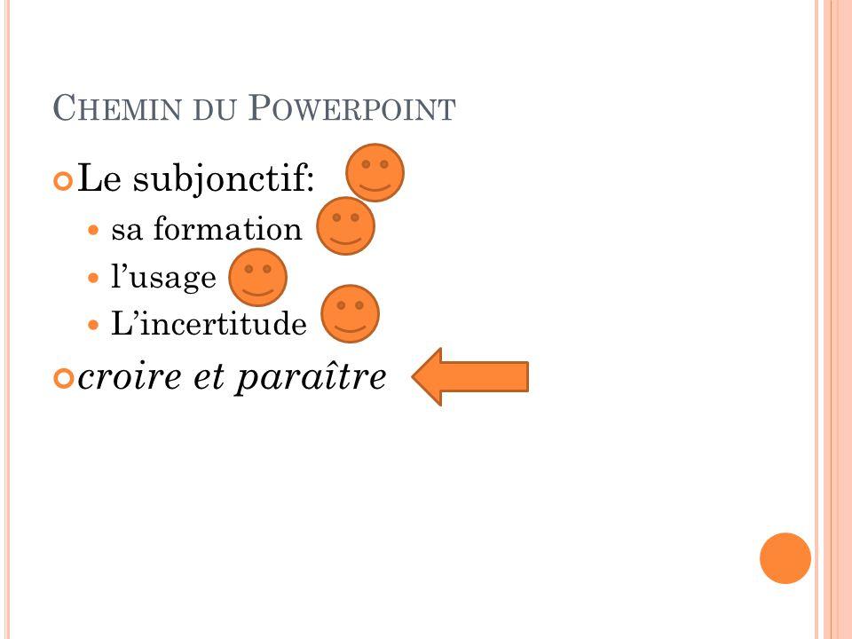 croire et paraître Le subjonctif: Chemin du Powerpoint sa formation