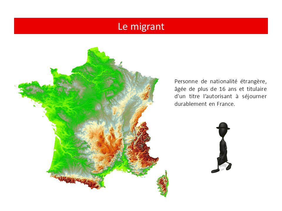 Le migrant Personne de nationalité étrangère, âgée de plus de 16 ans et titulaire d un titre l'autorisant à séjourner durablement en France.